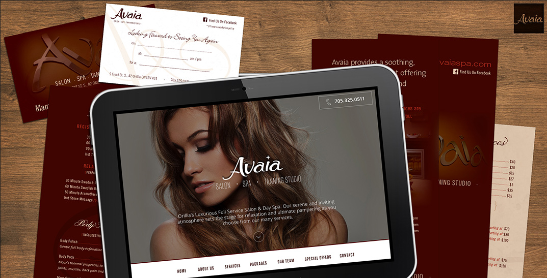 Avaia Salon and Spa Web and Graphic Design